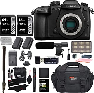 Panasonic GH5 Lumix 4K Mirrorless ILC Camera Body, Transcend 64GB Memory, Ritz Gear SLR Camera Bag, 2 Batteries, Charger and DC-GH5KBODY Accessory Bundle