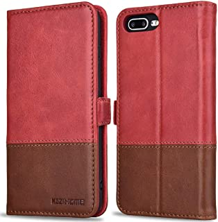 KEZiHOME Genuine Leather iPhone 8 Plus Wallet Case, iPhone 7 Plus Flip Wallet Case Book Design with RFID Blocking Card Slot Stand Function Magnetic Closure for iPhone 8 Plus / 7 Plus (Red/Brown)