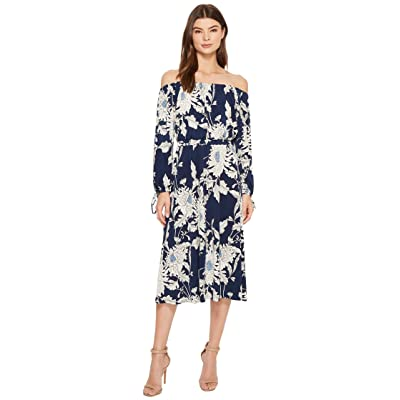 Maggy London Off the Shoulder Peasant Sleeve Dress (Navy/Soft White) Women