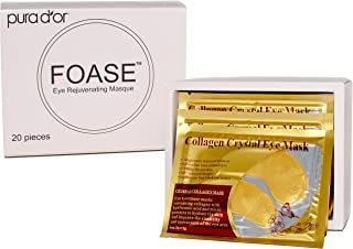Foase Collagen Under Eye Patches - 24K Gold Hyaluronic Treatment Mask for Dark Circles, Eye Bags & Puffiness – 100% Natural Pads - 20 Pairs (Packaging may vary)
