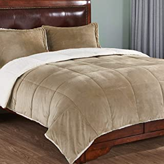 PEACE NEST 3-Piece Winter Sherpa Reversible Down Alternative Comforter Set with Pillow Shams, Queen Size, Gold
