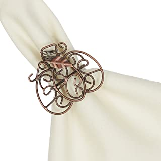 DII Thanksgiving Napkin Rings for Dinner Parties, Weddings Receptions, Family Gatherings, or Everyday Use, Set Your Table With Style - Pumpkins Scroll, Set of 6