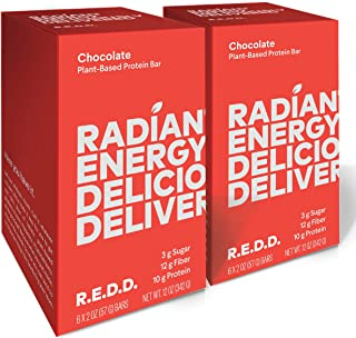 REDD - Chocolate - Plant Based Protein Bar (2oz - 12-pack) - Gluten Free, Vegan, Low Sugar, High Fiber, Probiotics, Healthy On-The-Go Snack for Kids & Adults