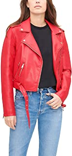 womens Faux Leather Belted Motorcycle Jacket (Standard...