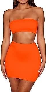 SKYVOICE Women's Sexy 2 Piece Outfits Tube Crop Top Skirt Set Bodycon Mini Dress