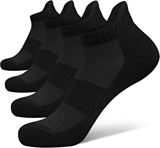 Closemate Ankle Athletic Running Socks 4 Pairs Low Cut Wicking Sport Cushion Tab Socks for Men and Women