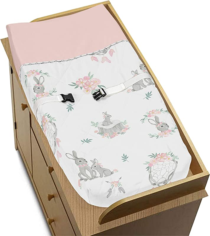Sweet Jojo Designs Blush Pink And Grey Woodland Boho Dream Catcher Arrow Girl Baby Nursery Changing Pad Cover For Gray Bunny Floral Collection Watercolor Rose Flower