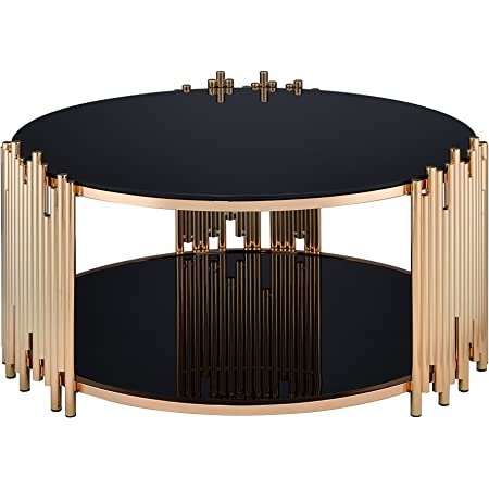 South Shore Maliza Coffee Table Rose Gold and Smoked Glass