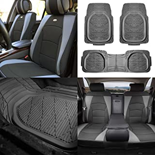 FH Group PU205115 Ultra Comfort Leatherette Seat Cushions (Split Ready) Gray Black Color w. F11323 Gray Rubber Floor Mats- Fit Most Car, Truck, SUV, or Van