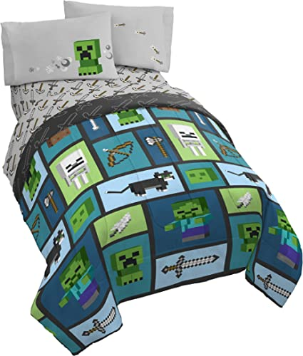 Minecraft Chibi College 5 Piece Full Bed Set - Includes Reversible Comforter & Sheet Set - Bedding Features Creeper &...