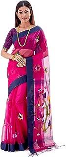 SareesofBengal Women's Handloom Dhakai Muslin Jamdani Silk Saree Magenta