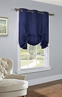 Thermalogic Prescott Solid Tie Up Curtain Panel, 40 X 63, Navy