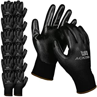 ACKTRA Nitrile Coated Nylon Safety WORK GLOVES 12 Pairs, Knit Wrist Cuff, Multipurpose, for Men & Women, WG003 Black Polyester, Black Nitrile, X-Large
