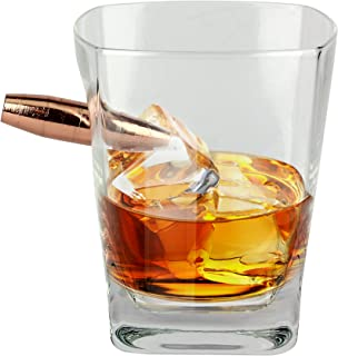 Barbuzzo Last Man Standing - Bullet Whiskey Glass - Durable Hand Blown Glass - Hand Sculpted with a Faux 50 Caliber Bullet - Great Man Gift and Addition to the Man Cave - Holds 10 Ounces