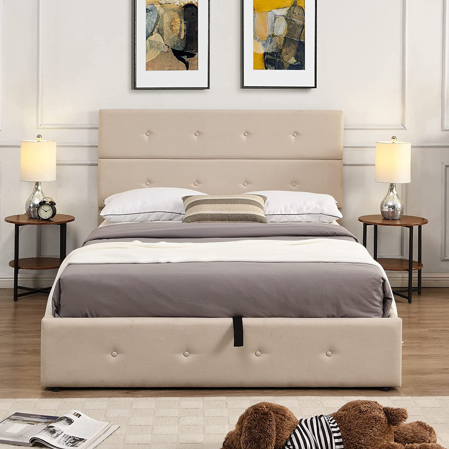Danxee Upholstered Platform Max 84% OFF Bed Frame Underneath M Storage Cash special price with