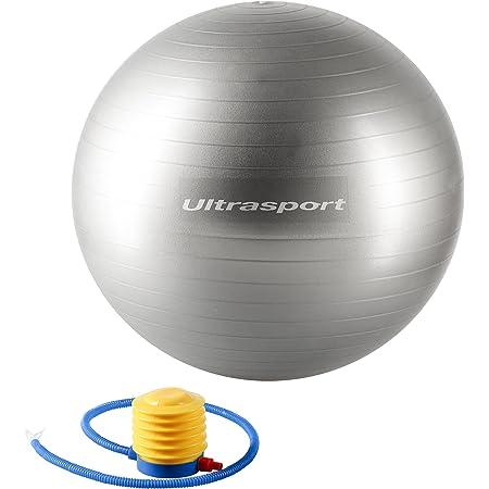 【Amazon限定ブランド】ウルトラスポーツ バランスボール フィットネスボール 直径65cm 空気入れ・予備の空気止栓付き グレー