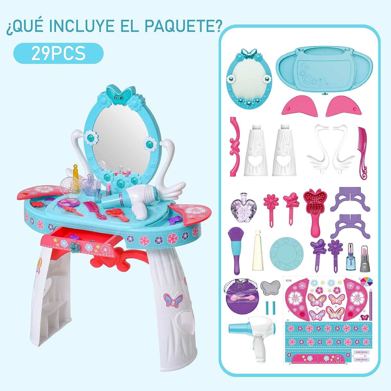 3 A/ños Incluye 29 Piezas Centro de Belleza Infantil 49,5x23,5x69,5 cm Azul HOMCOM Tocador de Juguete para Ni/ños con Taburete Funci/ón de M/úsica Luces