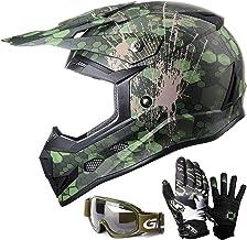 GLX Unisex-Child GX623 DOT Kids Youth ATV Off-Road Dirt Bike Motocross Helmet Gear Combo..