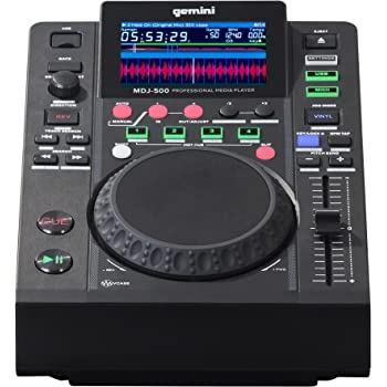 "Gemini MDJ Series MDJ-500 Professional Audio DJ Media Player with 4.3-Inch Full Color Display Screen, 5"" Jog Wheel, and Programmable Hot Cues"