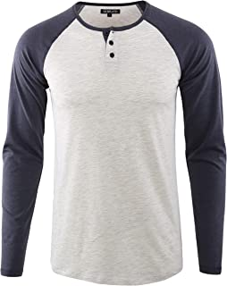 DESPLATO Men's Casual Basic Active Sports Raglan Long Sleeve Baseball Tee Shirt