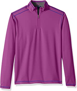 Cutter & Buck Mens 50+ UPF Stretch Evergreen Reversible Snap Placket Pullover Long Sleeve Shirt