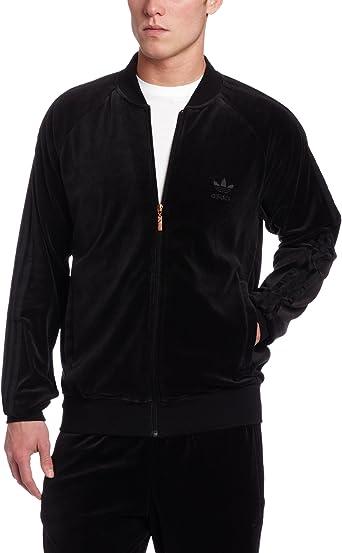Amazon.com: adidas Men's Superstar Velour Track Top, Black, Large ...
