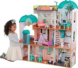 KidKraft 65986 Camila domek dla lalek z drewna z akcesoriami, zestaw do zabawy z trzema poziomami dla lalek o wielkości 30...