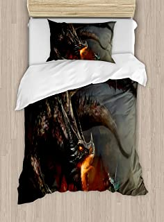 Ambesonne Medieval Duvet Cover Set Twin Size, Fantasy Scene Fearless Knight with Dragon Mythology Art Antique, Decorative 2 Piece Bedding Set with 1 Pillow Sham, Dimgrey Charcoal Grey Orange