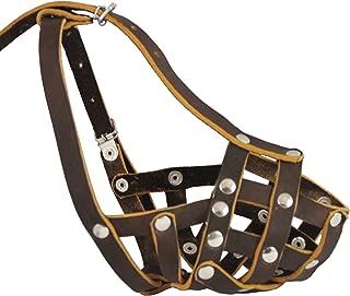 Secure Real Leather Mesh Basket Dog Muzzle - Spaniel Poodle Schnauzer (Circumference 9 Snout Length 2.7)