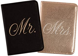 Mirror Mirror Passport Wallets Travel Holder Set: Mr. & Mrs. Slim Waterproof Passport Case Covers & Organizer Slots for ID...