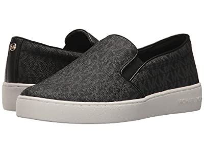 MICHAEL Michael Kors Keaton Slip-On (Black Mini MK Logo Coated Canvas/Suprema Nappa Sport) Women