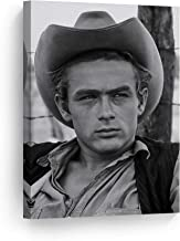 SmileArtDesign James Dean with Cowboy Hat Black and White Wall Art Canvas Print American Icon Artwork Home Decor Wall Decor Stretched Ready to Hang-%100 Handmade in The USA - 17x11