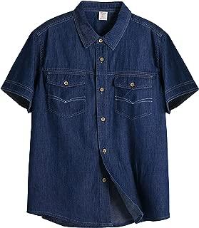 ZENTHACE Mens Short Sleeve Denim Shirts Button Down Shirt with Chest Pockets