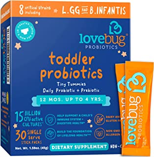 Sponsored Ad - Lovebug Probiotic and Prebiotic for Kids, 15 Billion CFU, for Children 12 Months to 4 Years, Best Children'...