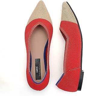 UNN Women's Ballet Flats Knit Loafer Slip-on Pointed Toe Lightweight Non-Slip Mesh Walking Shoe