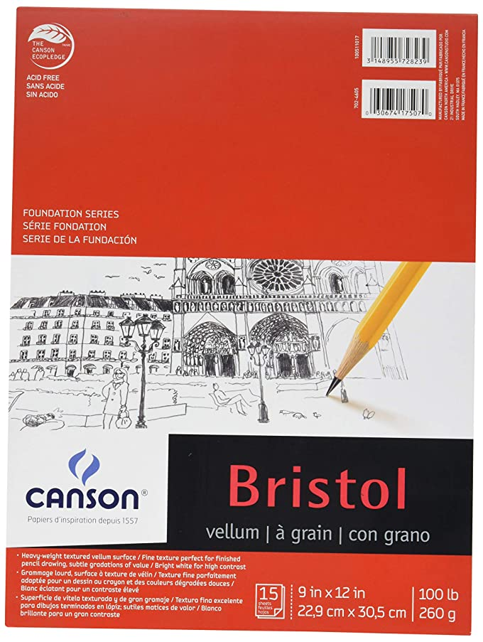 Canson Foundation Series Bristol Paper Pad, Heavyweight High Contrast Paper for Pencil, Vellum Finish, 100 Pound, 9 x 12 Inch, Bright White, 15 Sheets