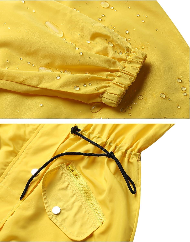 Abollria Damen Regenjacke Wasserdicht Atmungsaktiv Parka Leichte Übergangsjacke mit Einstellbarer Kapuze für Sommer und Herbst Gelb