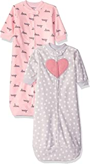 Carter's Baby Girls 2-Pack Microfleece Sleepbag, Pink/Grey Heart, Small