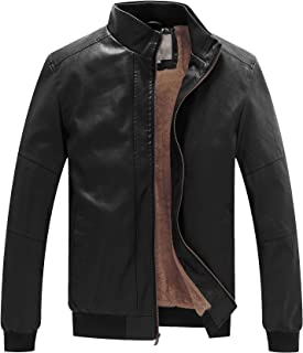 WenVen Men's Stand Collar Fleece Lined Bomber Faux Leather Jacket