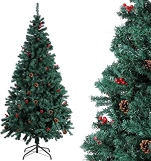 comprar comparacion Homfa Árbol Navidad Artificial de Pino PVC con Soporte Metálico Decoración Navideña Verde 180cm 850 Ramas