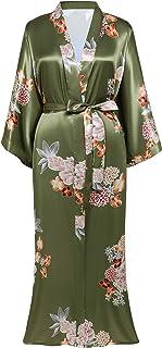 Hawaii summer robe green leaf kimono stripe lady cardigan green floral kimono contract trim robe large size Lady robe amazon kimono