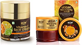 WOW Skin Science Vitamin C Face Cream - Oil Free Quick Absorbing - For All Skin Types - No Parabens & WOW Skin Science Ubt...