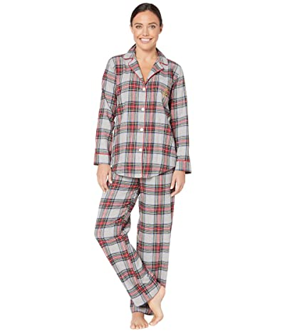 LAUREN Ralph Lauren Brushed Twill Long Sleeve Notch Collar Long Pants Pajama Set (Multi Plaid) Women