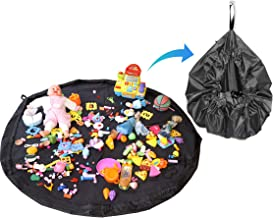Storite Kids Toys Storage Organiser Bag Cum Mat Foldable Portable Holder-56 Inch Large Storage Bag Drawstring for Magnetic Building/Blocks Convenient Fast Neat Portable - Black