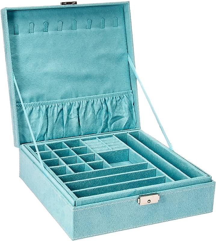 KLOUD City Two Layer Lint Jewelry Box Organizer Display Storage Case With Lock Blue