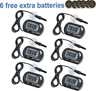 Aquaneat Aquarium Digital Thermometer Fish Tank Water Terrarium Black Free Extra Batteries