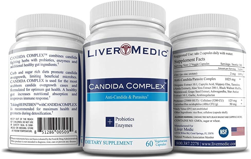 Candida Complex Supplement | Powerful Natural Candida Cleanse [Non-GMO] Fights Parasites, Yeast, UTI w/ Herbs like Oregano - Women & Men. Digestive
