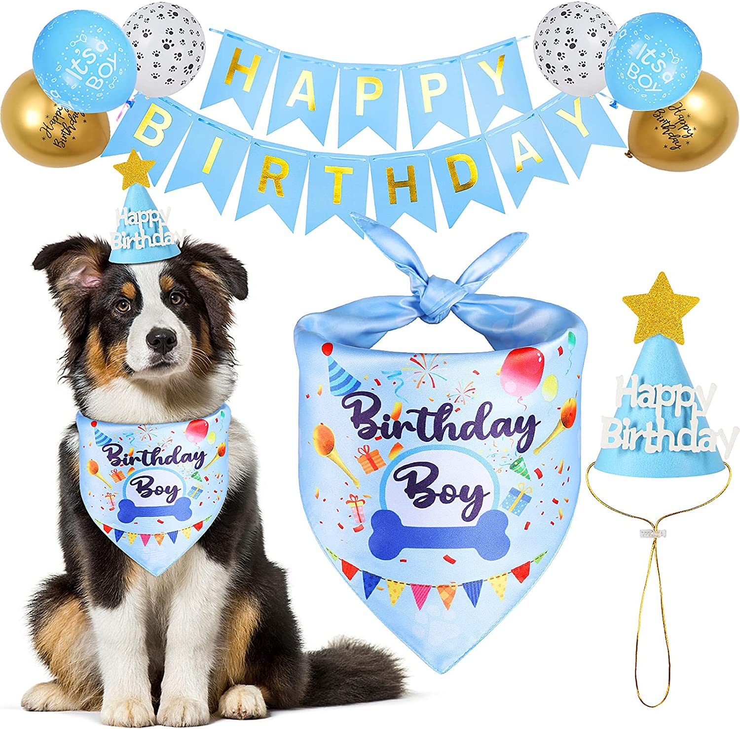 18 PCS Dog Birthday Super beauty product restock quality top! Bandana Boy Su Girl Factory outlet Cute Party Kit