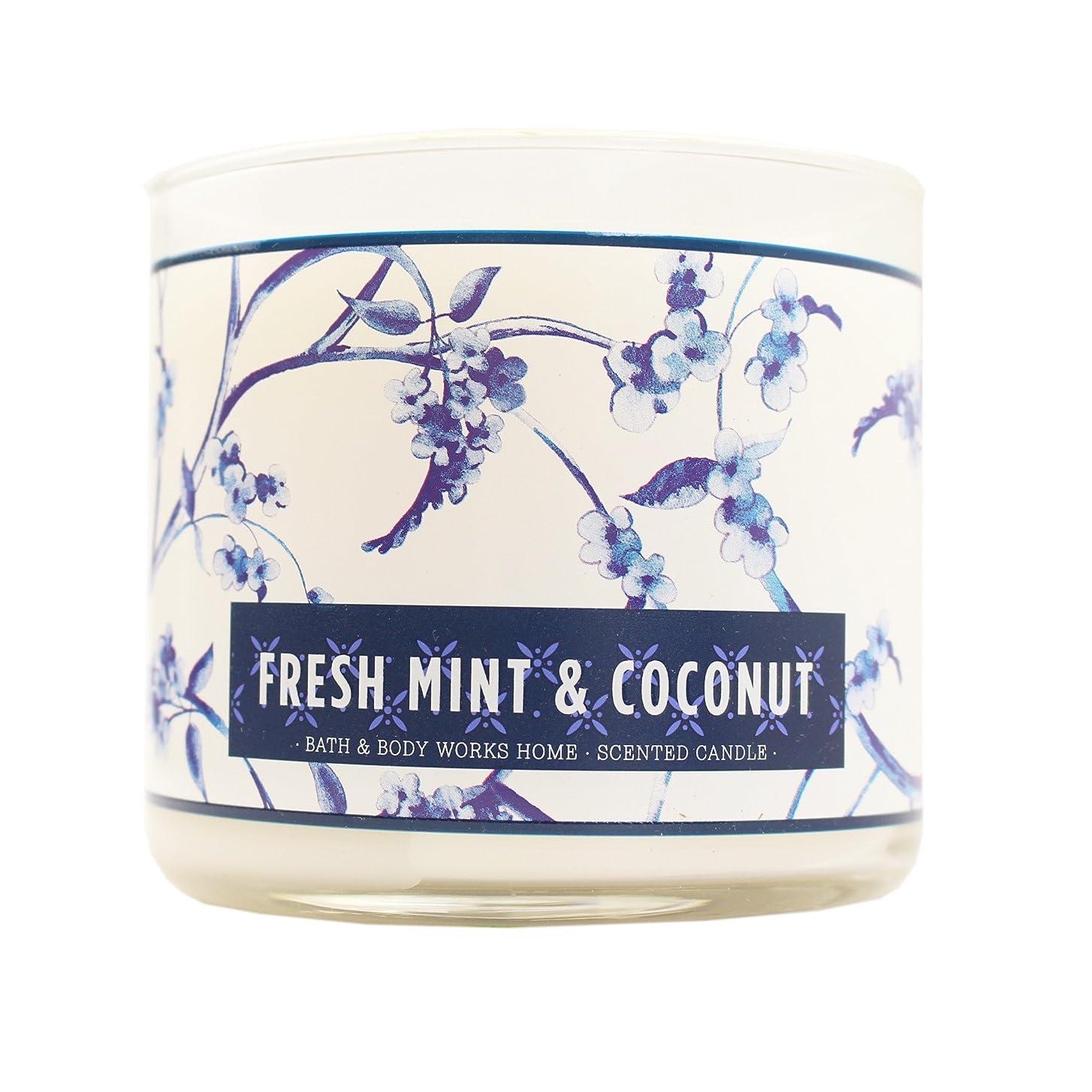 大気インストールエジプト人Bath & Body Works Candle 3?Wick 14.5オンスフレッシュミント& Coconut