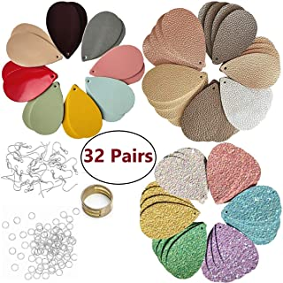 AOUXSEEM 64 Pcs 32 Pairs of Faux Leather Earrings DIY Making Kit, Contains Pre-Cut Chunky Glitter,Metallic Litchi,Double Sided Fabric Teardrop Shape Pieces and 64 Set Earring Hooks Backs Jump Rings